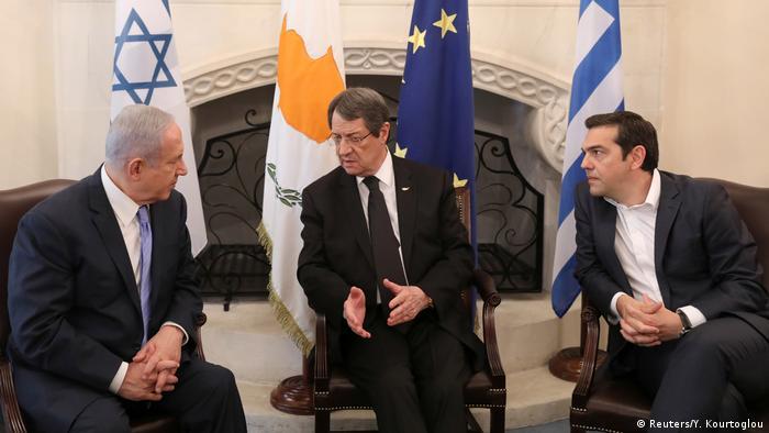 İsrail, Kıbrıs ve Yunanistan liderleri Mayıs 2018'de Lefkoşa'da bir araya gelmişti.