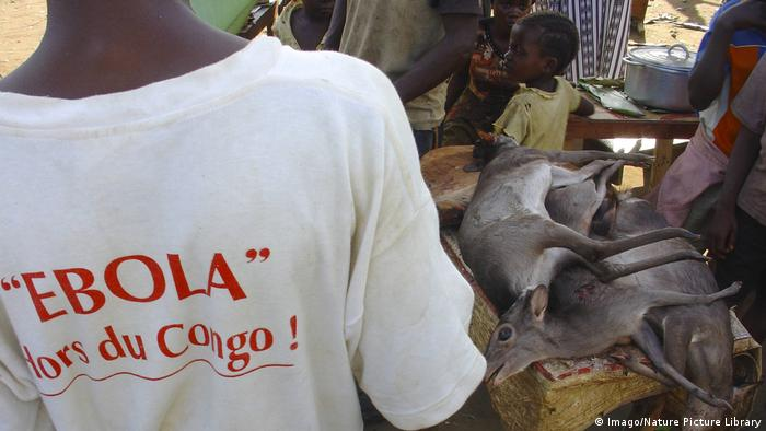 A man in a white t-shirt with the slogan 'Ebola out of Congo!' at a meat market