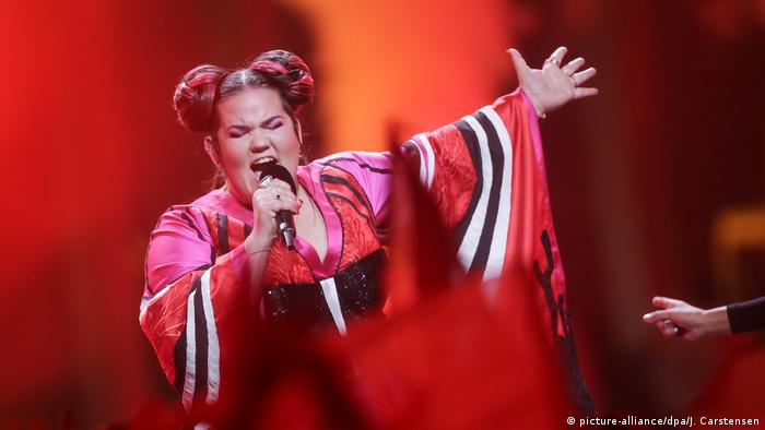 Netta singing on stage