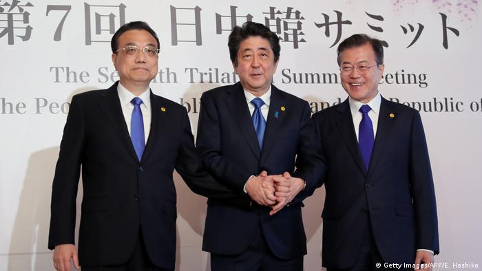 China's Premier Li Keqiang, Japan's Prime Minister Shinzo Abe and South Korea's President Moon Jae-in