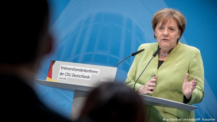 German Chancellor Angela Merkel giving a speech on May 9