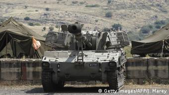 Israeli Panzers lines up in the Golan Hights