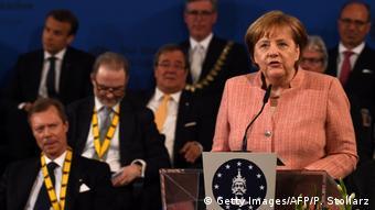 Almanya Başbakanı Merkel, Şarlman Ödül töreninde konuşuyor