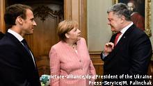 Deutschland Treffen von Angela Merkel, Emmanuel Macron und Petro Poroshenko