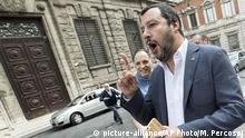 Leader of The League party Matteo Salvini gestures in Rome, Italy, Thursday, May 10, 2018. Salvini, who heads the center-right bloc, and 5-Star leader Luigi di Maio said in a joint statement after a face-to-face meeting in Rome that they had reached ''significant progress'' on the composition of the Cabinet and on identifying a candidate for the post of premier to bring to Mattarella. The timing of such a meeting remained unclear, but Italian media reported that the parties had asked to have through the weekend to work on a deal. (Massimo Percossi/ANSA via AP)  