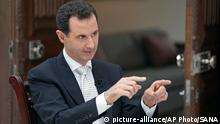 Syrien Bashar Assad im Interview in Damaskus (picture-alliance/AP Photo/SANA)