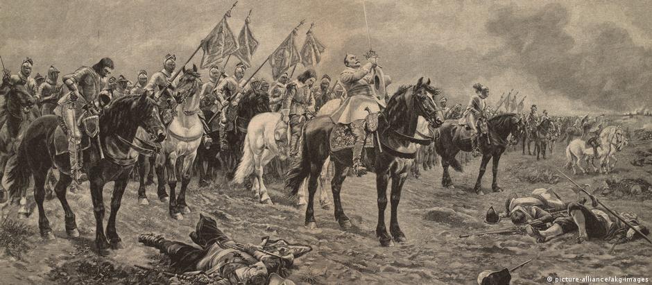 Gustavo Adolfo 2º, rei da Suécia, em pintura de Louis Braun representando batalha da Guerra dos Trinta Anos