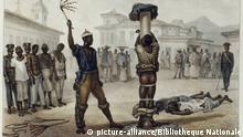 Geschichte: Sklaverei in Brasilien, Lithografie: Auspeitschen von schwarzen Sklaven u. Sklaven im Stock