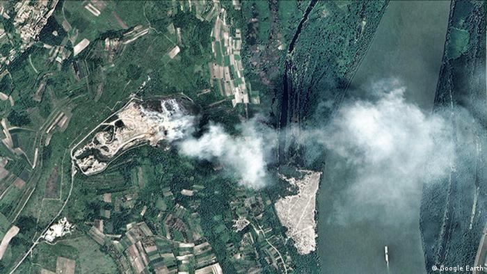 Feuer Mülldeponie Serbien (Google Earth)