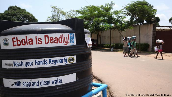 Signs detailing measures to prevent Ebola