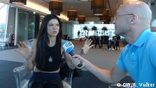 11.05.2018 Ukrainische Siegerin des ESC 2004 Ruslana im Interview mit dem DW-Reporter Andreas Brenner am Rande des Eurovision Song Contest (Lissabon, Portugal)
