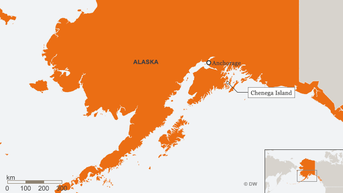 Infografik Karte Alaska mit Chenega Island ENG