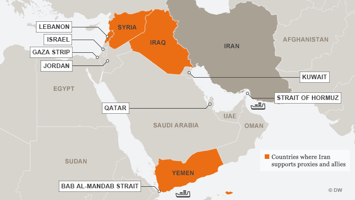 Infografik Karte Irans Verbündete ENG