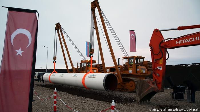 Construction equipments are seen during the groundbreaking ceremony of the Trans Anatolian Natural Gas Pipeline