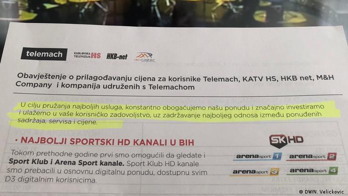 Bosnien Telemach-TV Werberochüre Paytv