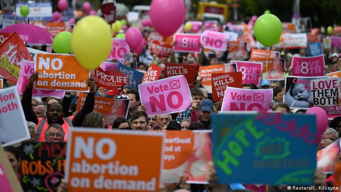 Sea of banners at Saturday's anti-abortion rally in Dublin (Reuters/C. Kilcoyne)