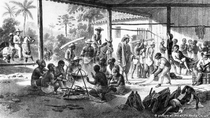 1835 lithograph showing slaves being transported to the New World. By Johann Moritz Rugendas.