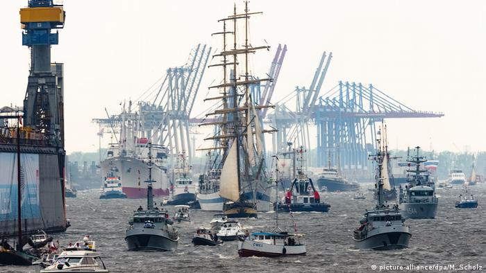 Ships taking part in a parade during Hamburg harbor festival