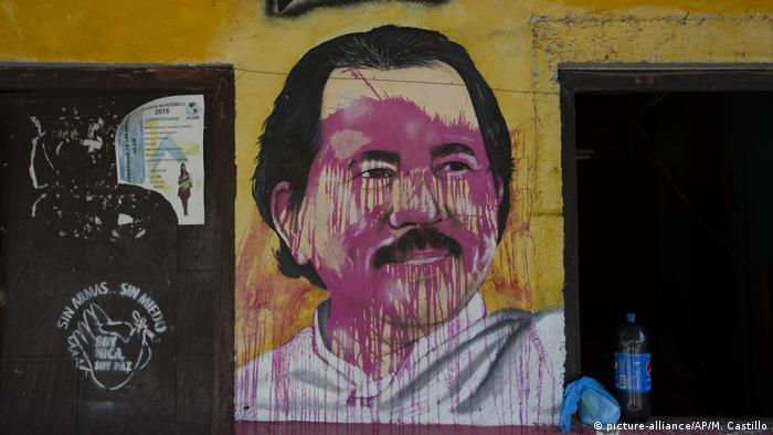Mural of president Daniel Ortega defaced by anti-government protesters
