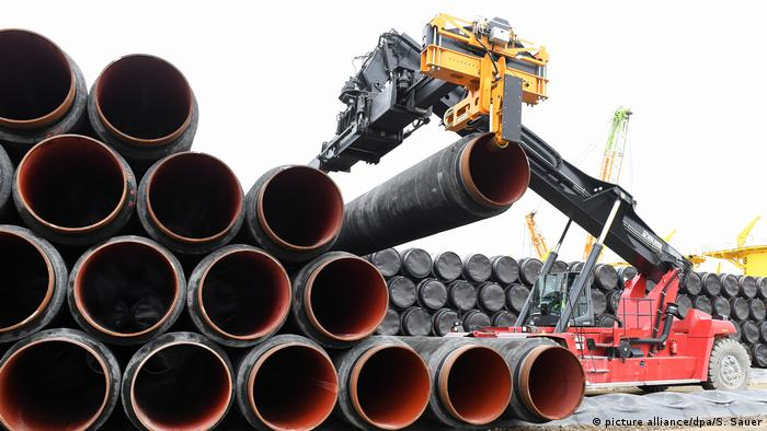 Nord Stream 2 pipes are loaded in the port of Mukran