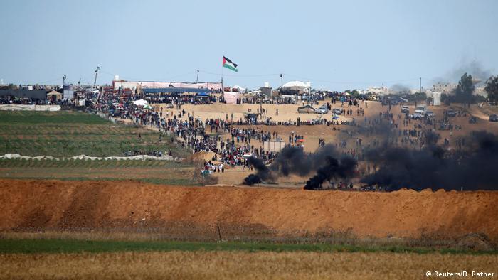 Proteste im Gazastreifen an der Grenze zu Israel (Reuters/B. Ratner)