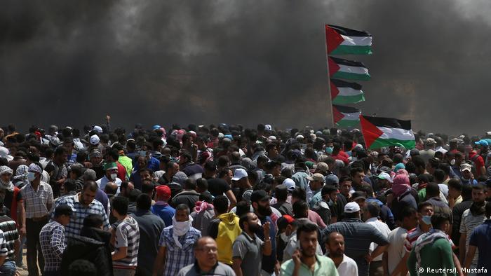 Israel, Gaza: Palästinenser demonstrieren gegen den Umzug der US Botschaft nach Jerusalem