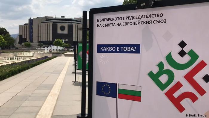 Bulgarien Sofia Plakat des EU-Gipfels