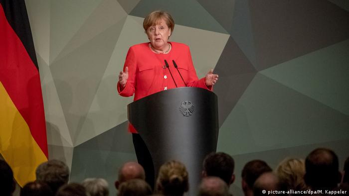 Germany's Chancellor Angela Merkel addressing senior officers in Berlin on Monday May 14. 2018