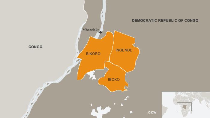 Map of Bikoro region in DRC