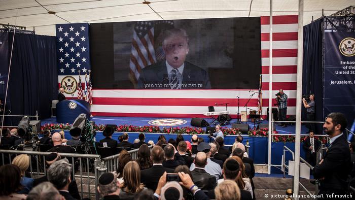 Israel Eröffnung der US-Botschaft in Jerusalem | Videobotschaft von Donald Trump (picture-alliance/dpa/I. Yefimovich)