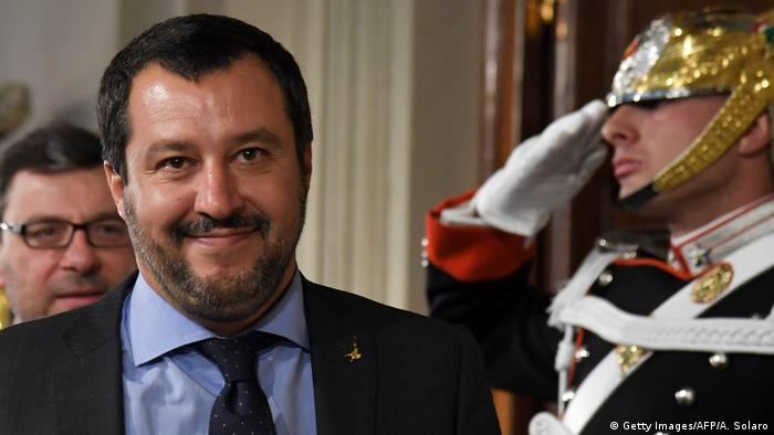 Matteo Salvini leaves after meeting Italian President Sergio Mattarella (Getty Images/AFP/A. Solaro)