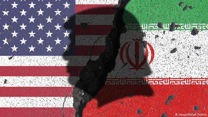 An image showing half of the US and Iranian flags, with the silhouette of Donald Trump's head overshadowing the center of the photo. (Imago/Ralph Peters)