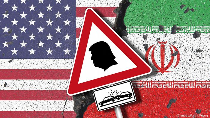 This illustration compares Trump's decision on the Iran nuclear deal with a car crash