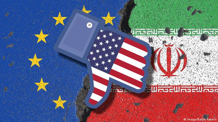 Symbolic erosion of flags of Iran and the EU with US dislike thumb (Imago/Ralph Peters)