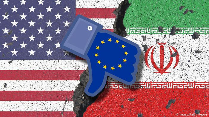 Symbolic image of rejection and criticism of the EU European Union on the US exit from the Joint Comprehensive Plan of Action JCPOA (Imago/Ralph Peters)