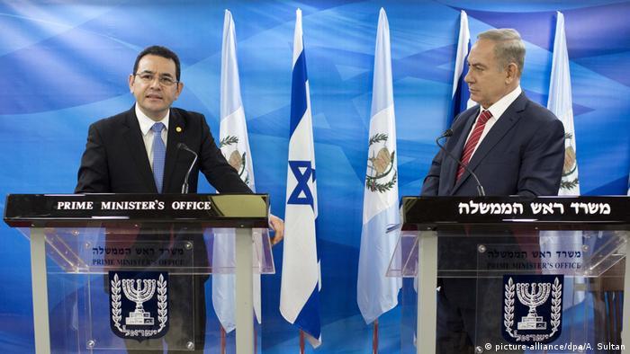 Президент Гватемалы Моралес с премьер Израиля Нетаньяху