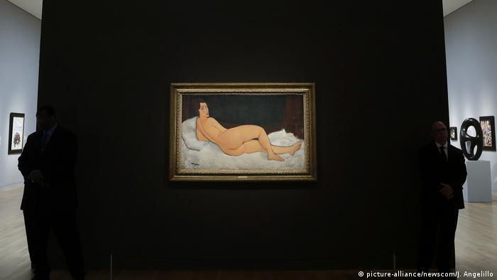Sotheby's New York auction house with the Modigliani on display