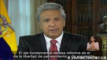 Screenshot youtube-Video Rede Präsident Ecuador Lenín Moreno