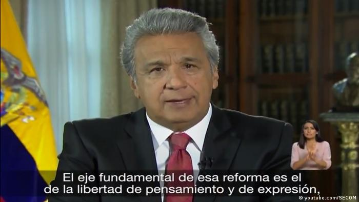 Screenshot youtube-Video Rede Präsident Ecuador Lenín Moreno (youtube.com/SECOM)