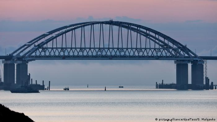 A view of Kerch Strait Bridge measuring 19 km [11.8 miles] in length and linking Crimea's Kerch Peninsula to mainland Russia