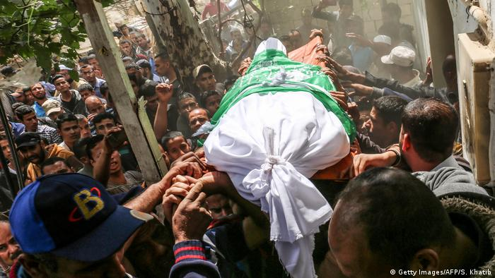 One of the bodies being carried at a Gaza funeral