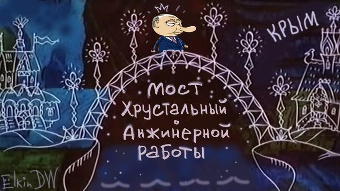 Karikatur von Sergey Elkin - Putin eröffnet die umstrittene Krim-Brücke