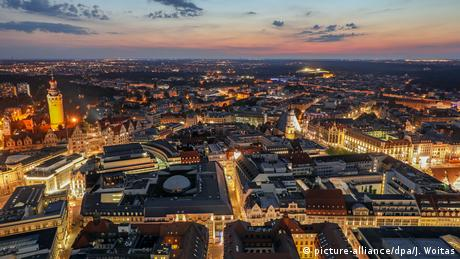An aerial shot of Leipzig at night