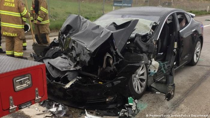 A Tesla Model S after a crash in South Jordan, Utah, US in May (Reuters/South Jordan Police Department)