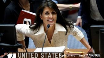 UN Sicherheitsrat Sondersitzung Gaza Nikki Haley (picture-alliance/AA/A. Ozdil)