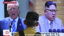Südkorea TV Donald Trump, Kim Jong Un (picture-alliance/AP Photo/Young-joon)
