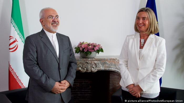 Iran's Foreign Minister Javad Zarif and EU Foreign Affairs Commissioner Federica Mogherini, in May 2018