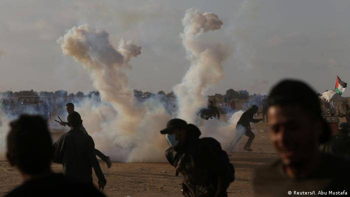 درگیری فلسطینیهای معترض با ارتش اسرائیل در مرز غزه