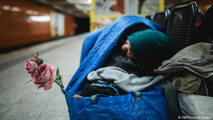 A homeless woman in Berlin