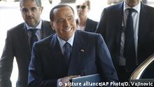 Former Italian Prime Minister Silvio Berlusconi arrives for a meeting of the EPP at a hotel in Sofia, Bulgaria, Wednesday, May 16, 2018. Heads of State of the EU and Western Balkan countries will attend a dinner on Wednesday and meet for a summit at Sofia's National Palace of Culture on Thursday. (AP Photo/Darko Vojinovic)  